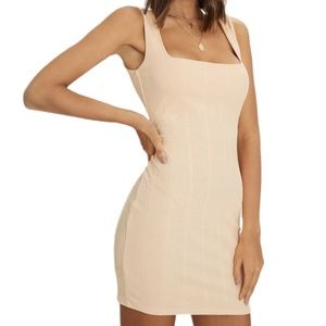 PrettyLittleThing Nude Square Neck Bodycon Dress